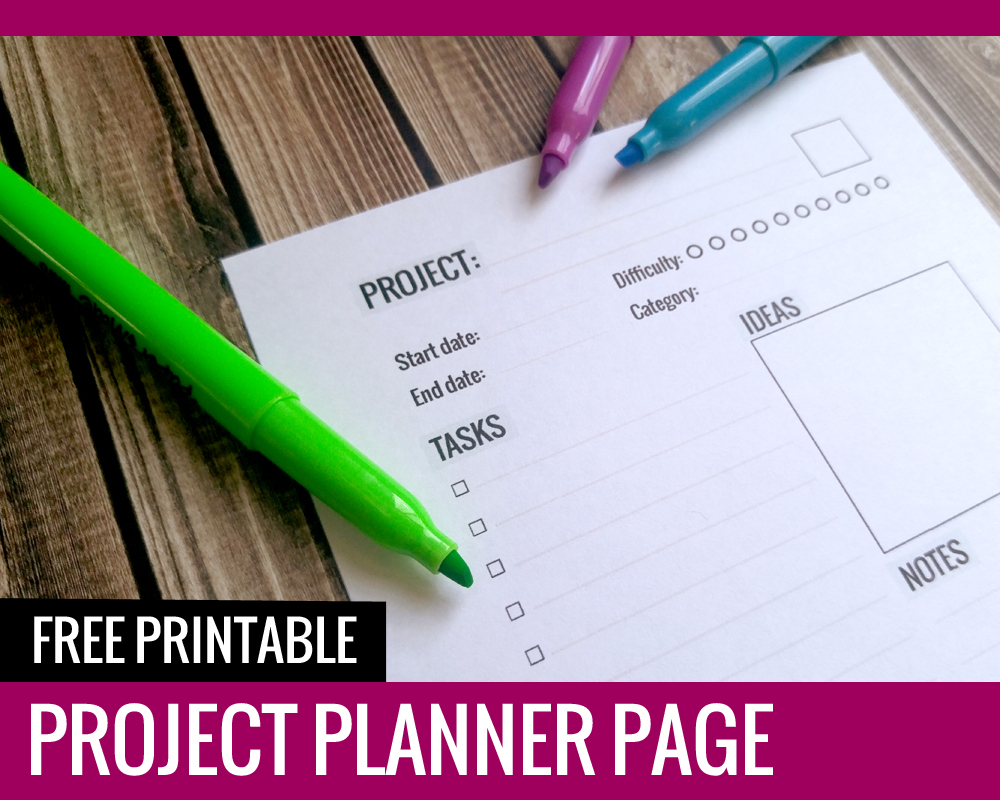 Free Printable Project Planner Page - Paper and Landscapes